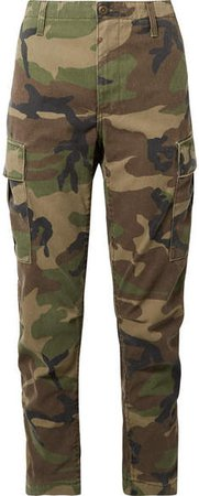Camouflage-print Cotton-canvas Tapered Pants - Green
