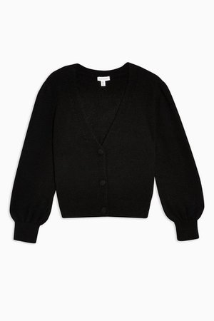 Black Covered Button Cardigan | Topshop