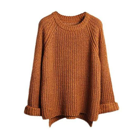 Lisli Women's Batwing Sleeve Loose Oversized Pullover Knitted Sweater (Coffee) at Amazon Women's Clothing store: