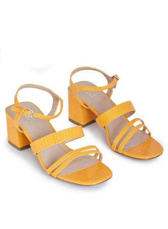 Wide Fit STORMI Yellow Mid Heel Sandals | Miss Selfridge