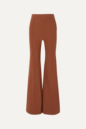 Camel Grain de poudre stretch-wool flared pants | Chloé | NET-A-PORTER
