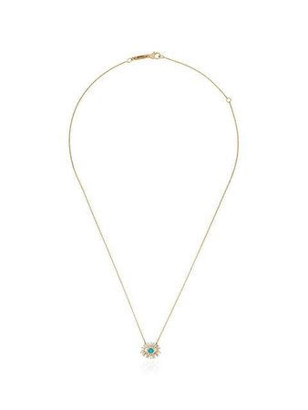 Suzanne Kalan 18kt gold Turquoise Evil Eye diamond necklace $1,982 - Buy Online SS19 - Quick Shipping, Price