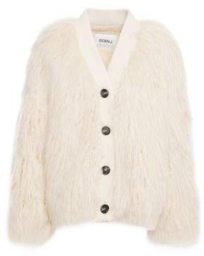 Ribbed Knit-trimmed Faux Shearling Jacket