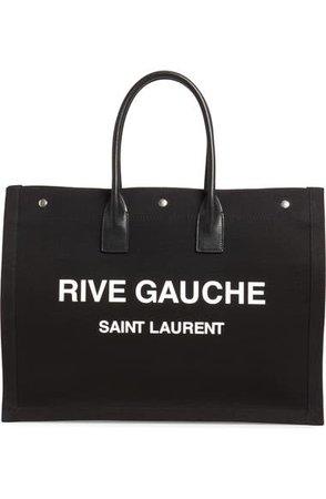 Saint Laurent Noe Rive Gauche Logo Canvas Tote | Nordstrom