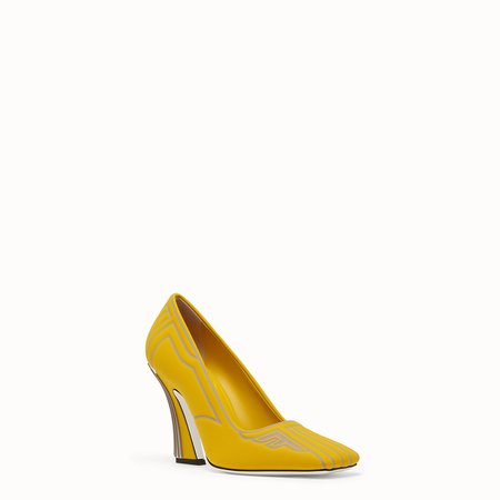 Court shoes in yellow fabric - COURT SHOES | Fendi