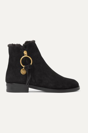 Black Shearling-lined suede ankle boots | See By Chloé | NET-A-PORTER