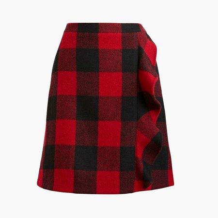 Ruffle-front mini skirt in double-serge wool