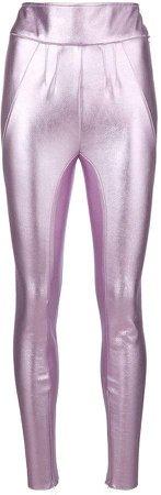metallic high-rise leggings