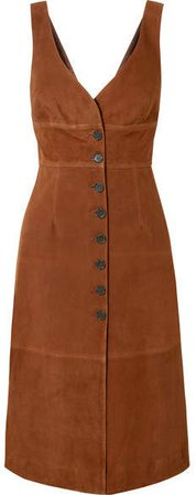 Suede Midi Dress - Brown