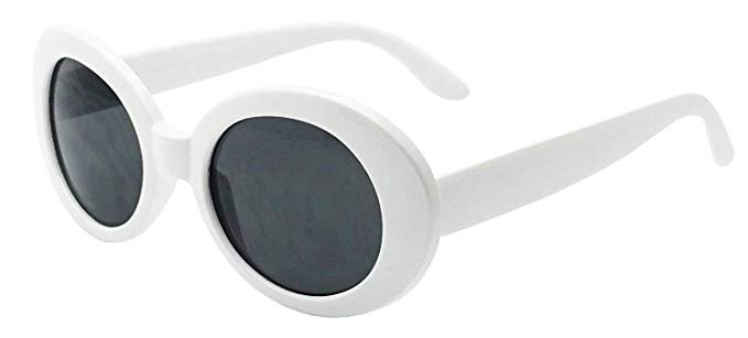 MOD Style Oval Sunglasses (White) at Amazon Women's Clothing store