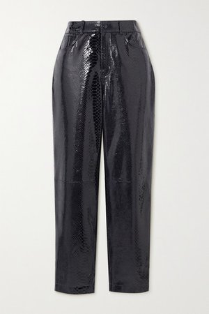 Elsa Cropped Snake-effect Patent-leather Straight-leg Pants - Black