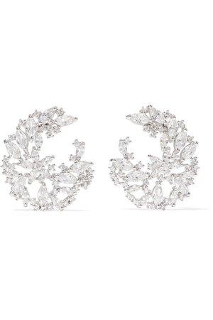 Kenneth Jay Lane   Rhodium-plated cubic zirconia earrings   NET-A-PORTER.COM