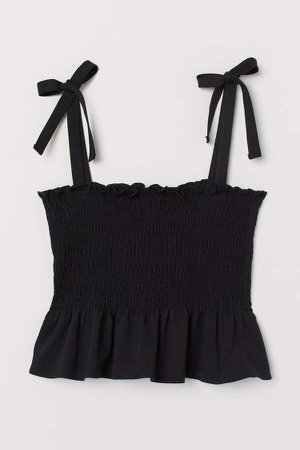 Camisole Top with Smocking - Black