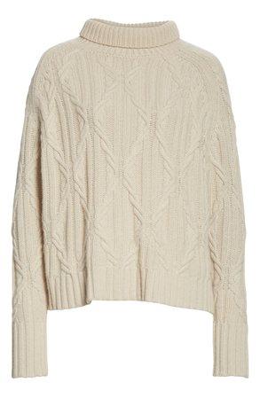 Nili Lotan Meyra Mock Neck Cable Knit Cashmere Sweater white