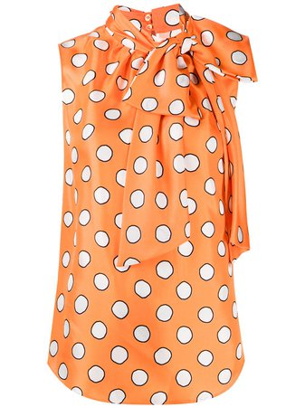 Shop orange Moschino polka dot bow blouse with Express Delivery - Farfetch