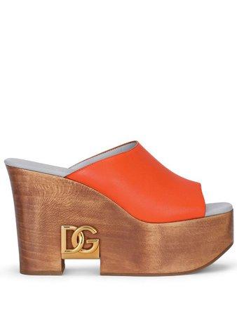 Dolce & Gabbana logo-plaque wedge sandals - FARFETCH