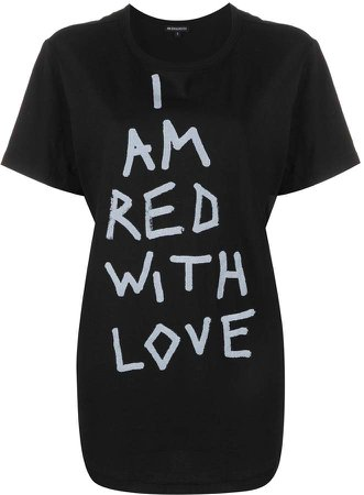Red with Love dip-hem T-shirt