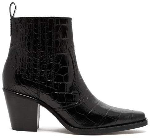 Crocodile Effect Leather Western Boots - Womens - Black