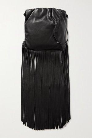 Fringe Gathered Leather Shoulder Bag - Black