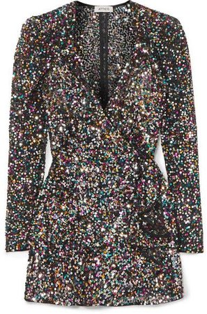 The Attico Sequined mesh mini wrap dress