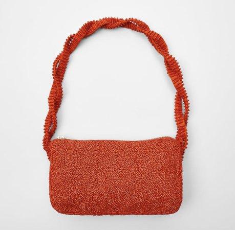 Zara orange bead bag