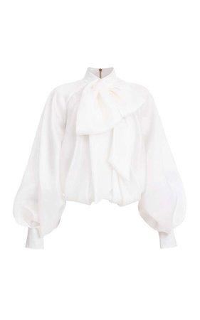 Balmain Bow-Front Silk Blouse
