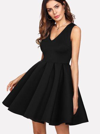 Box Pleated Fit & Flare Dress
