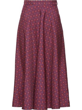 Prada Geometric Twill Midi Skirt - Farfetch