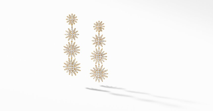 Starburst XL Drop Earrings in 18K Yellow Gold with Full Pavé