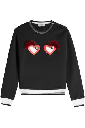 Cotton-Blend Sweatshirt with Hearts Gr. IT 44