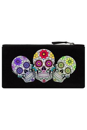 Sugar Skull Trio Black Pencil Case   Gifts & ware