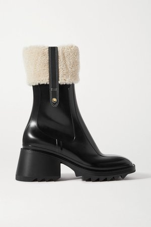 Betty Shearling And Leather-trimmed Rubber Ankle Boots - Black