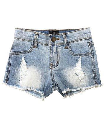 Distressed Denim Shorts Light Blue Wash