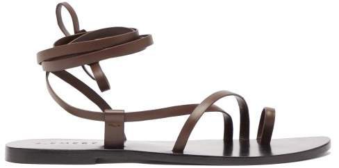 A.Emery A.emery - Beau Toe Post Ankle Tie Leather Sandals - Womens - Dark Brown