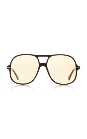 Oversized Acetate Aviator Sunglasses by Gucci | Moda Operandi