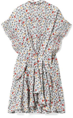 Ruffle-trimmed Pleated Floral-print Georgette Mini Dress - Ivory