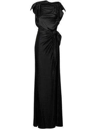 Side Tie Stretch Gown Dress