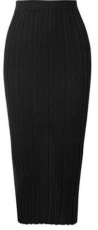 Ribbed Merino Wool-blend Midi Skirt - Black