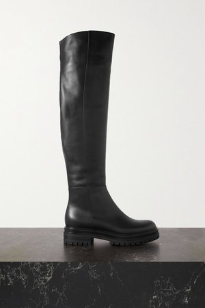45 Leather Over-the-knee Boots - Black
