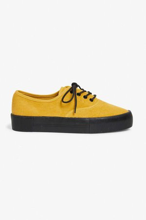 Corduroy lace-up sneakers - Must-have mustard - Shoes - Monki GB