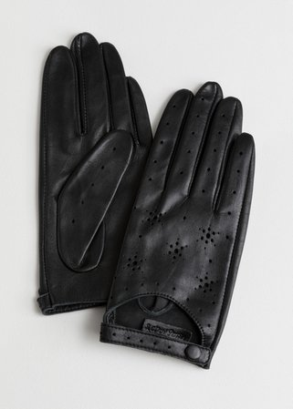 Star Perforated Leather Gloves - Black - Leather gloves - & Other Stories