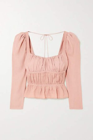 Plath Shirred Crepe Blouse - Blush