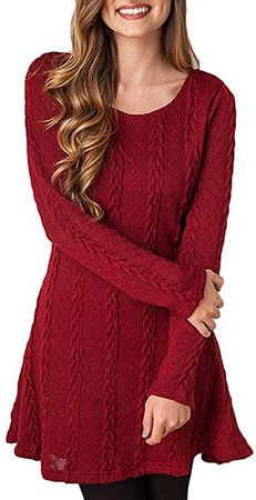 HAPEE Sweater Dresses Tunic for Women, Long Sleeve Crewneck Knit Pullover Sweater at Amazon Women's Clothing store