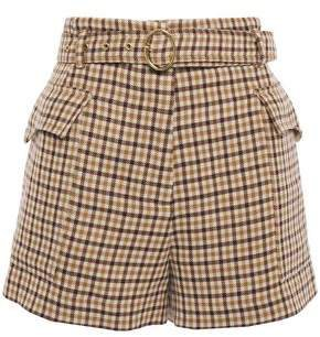 Lucas Belted Gingham Wool Shorts