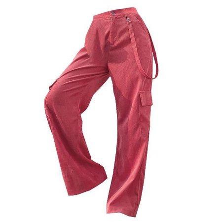 pink/red corduroy pants
