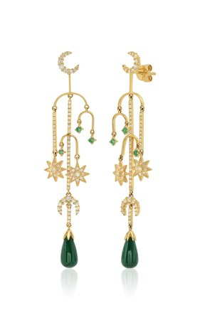 18k Yellow-Gold Malachite, Diamond, And Emerald Earrings By Colette Jewelry | Moda Operandi