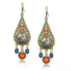 Bohemian Flower Tassels Drop Earrings Vintage Antique Gold Earrings for Women online - NewChic