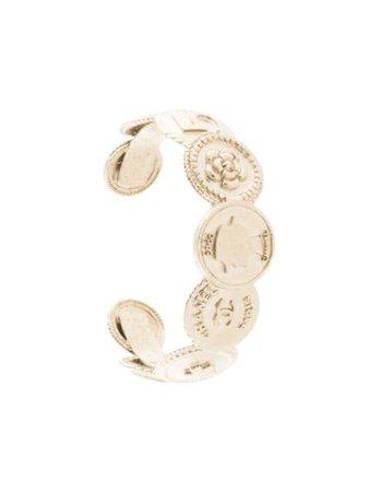 Chanel Pre-Owned 2014 Logo Coins Cuff BRB14P Silver | Farfetch