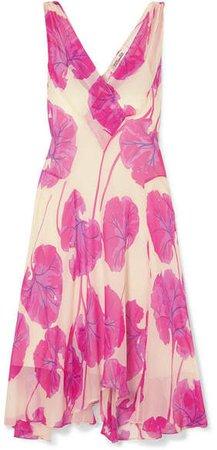 Dita Printed Silk-crepon Dress - Pink