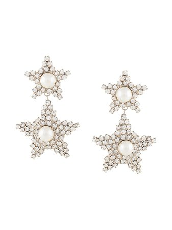 Silver Jennifer Behr Twyla Crystal Embellished Earrings | Farfetch.com
